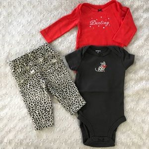 Carter's 3 Month Baby Girl Bundle Leopard Print